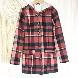 HURLEY Women's Red Plaid Mid Length Winter Coat